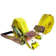 "2""X27 Foot Ratchet Tie Down Flat Hook Design Heavy Duty Towing Straps"