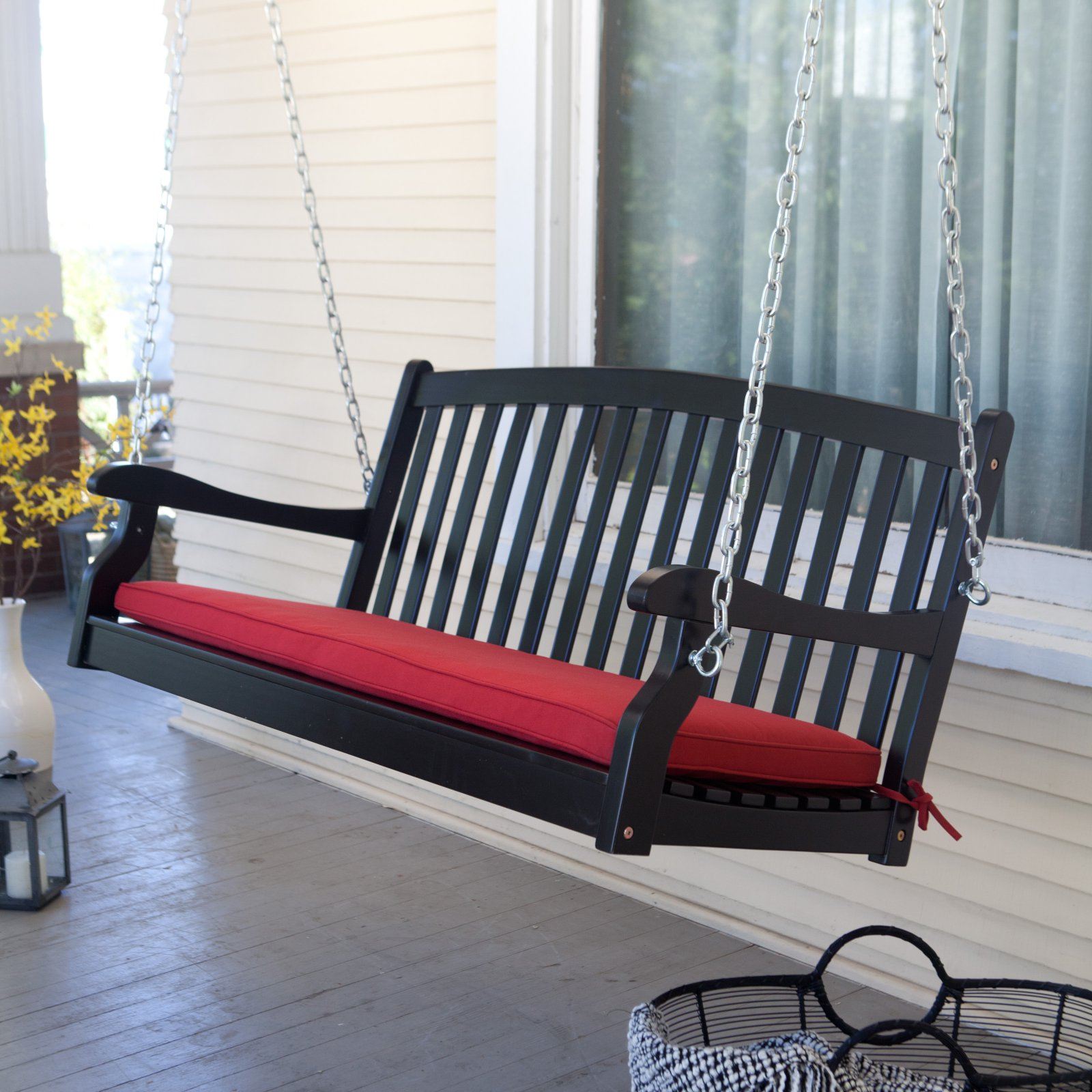 Coral Coast Pleasant Bay Black Curved Back Porch Swing with Optional Cushion