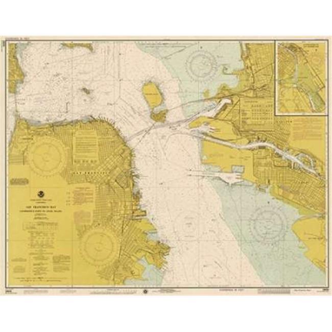 Bentley Global Arts Pdx450545small Nautical Chart San Francisco Bay Ca 1975 Sepia Tinted Poster Print By Noaa Historical Map 11 X 14 Small
