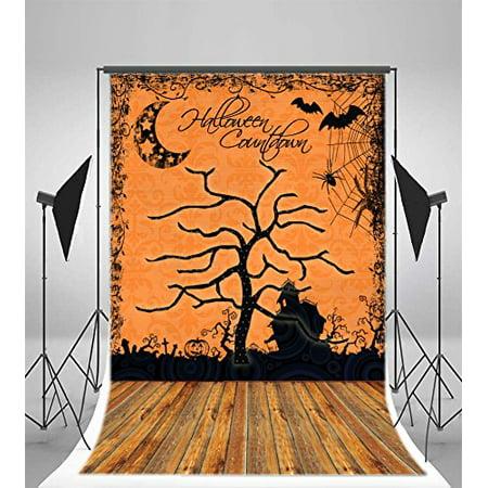 GreenDecor Polyster Photography Halloween Backdrop 5x7ft Halloween Countdown Pumpkin Latern Bats Spider Web Haunted Castle Wooden Floor Background Children Kids Baby Portraits Video Studio Props](Halloween Count Down)