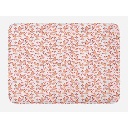 Floral Bath Mat, Leaves Florets Petals Pattern in Watercolor Paint Pastel Colored Artsy Picture Print, Non-Slip Plush Mat Bathroom Kitchen Laundry Room Decor, 29.5 X 17.5 Inches, Coral, Ambesonne