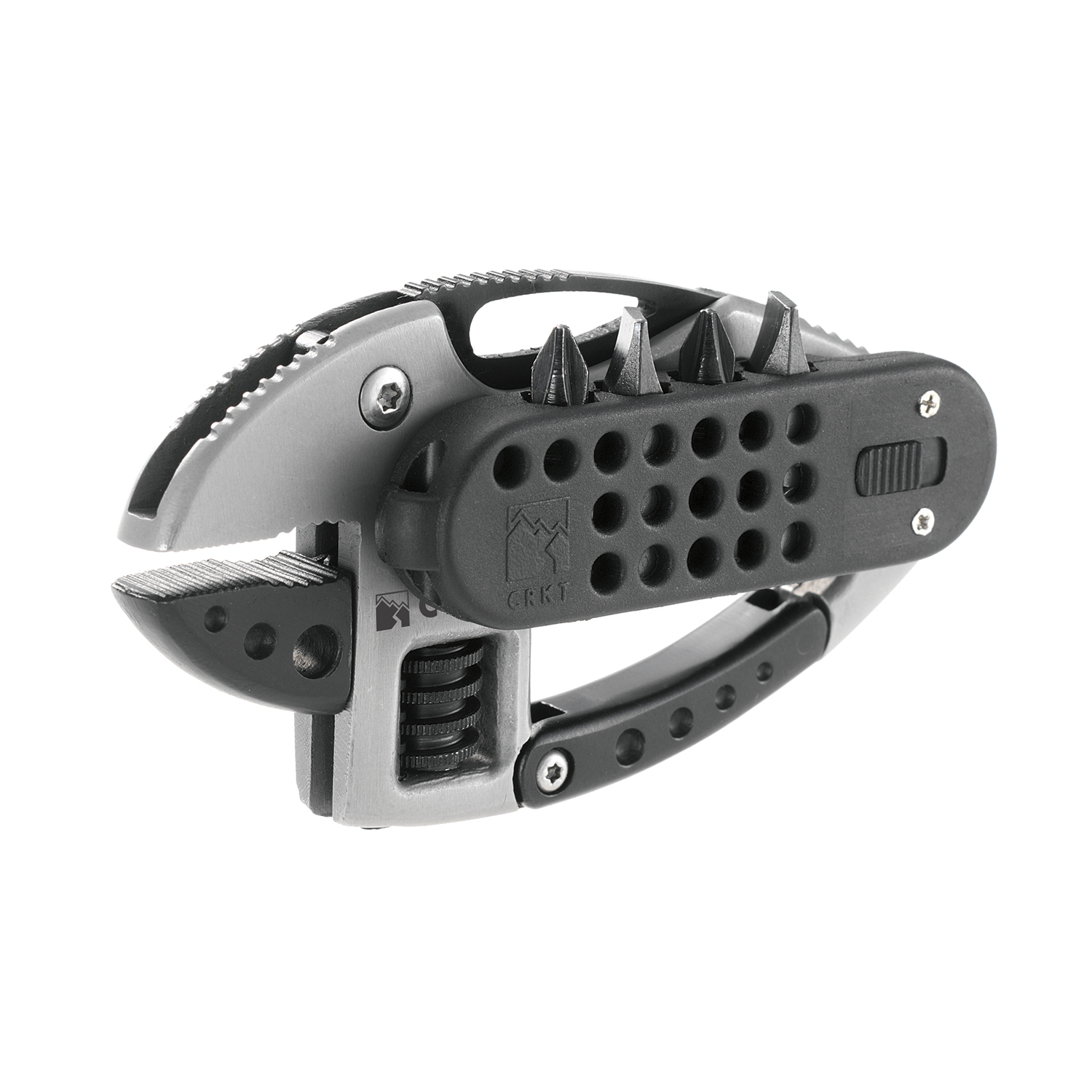 """CRKT Guppie Pocket Tool 9070 with Adjustable Wrench and 2.0"""" Plain Edge Blade and 6 other Functions"""