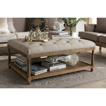 Baxton Studio Carlotta Oak Beige Linen Coffee Table Ottoman