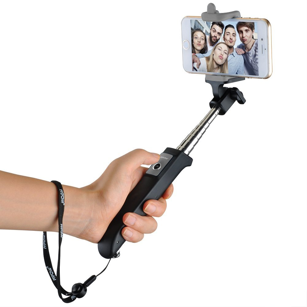 Mpow iSnap Y One-piece Portable Self-portrait Monopod Extendable Selfie Stick with built-in Bluetooth Remote Shutter for iPhone 6 and more-Black