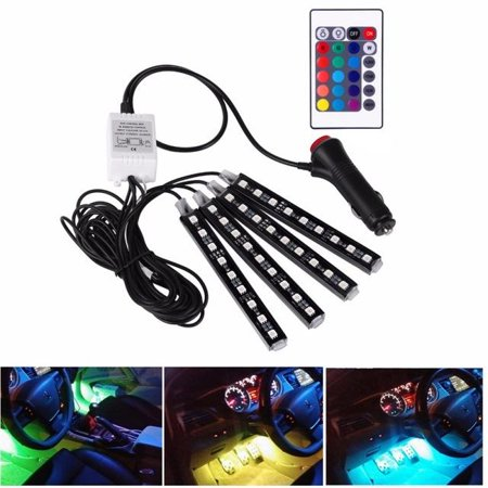 4Pcs 9LED RGB Remote Control Colorful Car Interior LED Strip Decoration Atmosphere Light Strips