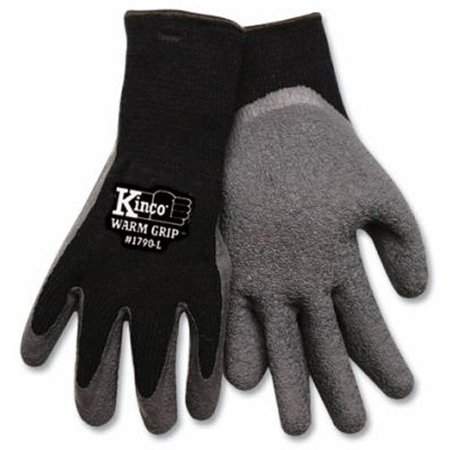 (KINCO 1790-XL Men's Warm Grip Thermal Lined Latex Coated Gloves, X-Large, Black/Gray By KINCO INTERNATIONAL)