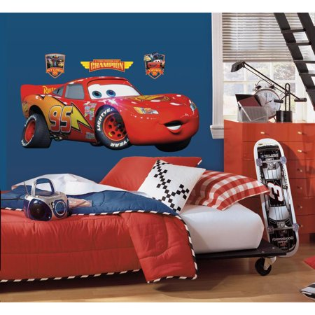 GIANT LIGHTNING MCQUEEN WALL DECAL Disney Cars Movie Stickers Racing - Flag Racing Decal