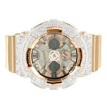Display Bezel Kit - Rose Gold Finish Iced Bezel Silicon Band Multi Display G Shock DA200GD Watch