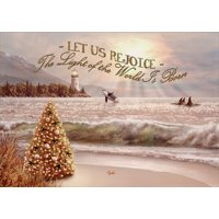 LPG Greetings Beach Tree, Waves, Whales and Lighthouse : Bring on the Day : Box of 14 Alan Giana Gold Foil Embossed Religious Christmas Cards