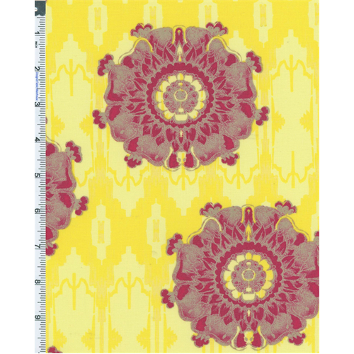 Yellow/Taupe Tina Givens Dovecote Conservatory Cotton Print, Fabric By the Yard