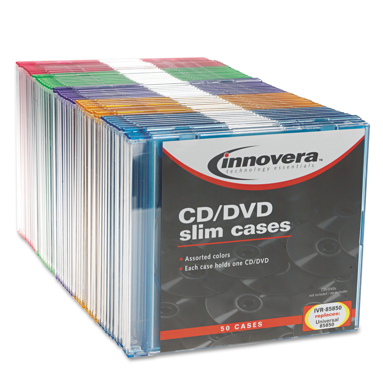 Innovera CD/DVD Polystyrene Thin Line Storage Case, Assorted Colors, 50/Pack
