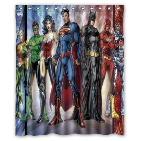 DEYOU Comics Justice League Superheroes Shower Curtain Polyester Fabric Bathroom Size 60x72 Inches