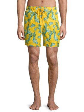 "George Men's and Big Men's 6"" Novelty Swim Trunk with Cacti, up to Size 3XL"