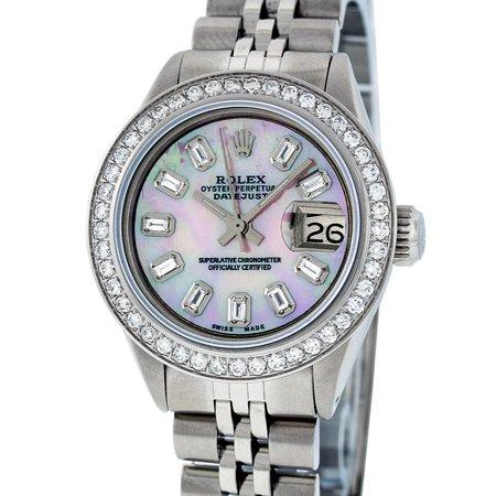 Rolex Pre-Owned Women's Datejust Stainless Steel Pink MOP Baguette Diamond Quick-Set Watch Jubilee (Rolex Pink Diamonds)