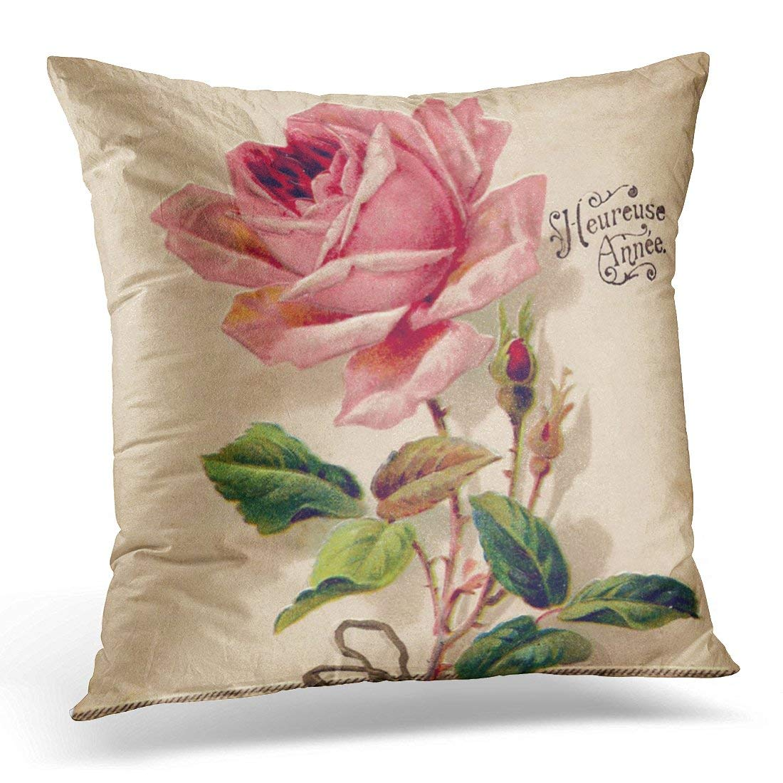 WOPOP Flower Nature Pink Vintage Floral Girly Pillowcase Cover 20x20 inch
