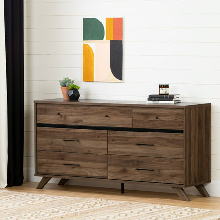 South Shore Flam 7-Drawer Double Dresser , Natural Walnut and Matte Black