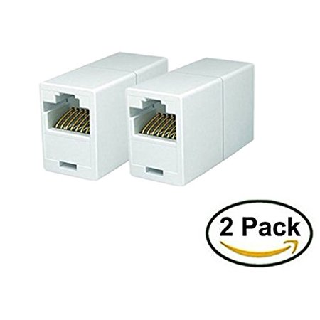 iMBAPrice RJ45 Coupler - (Pack of 2) Cat5e Ethernet Cable Extender Female to Female Straight Modular Inline Coupler