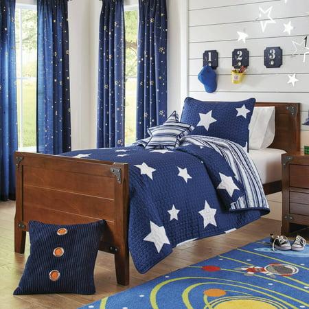 Better homes and gardens kids navy stars bedding quilt set for Better homes and gardens bed in a bag