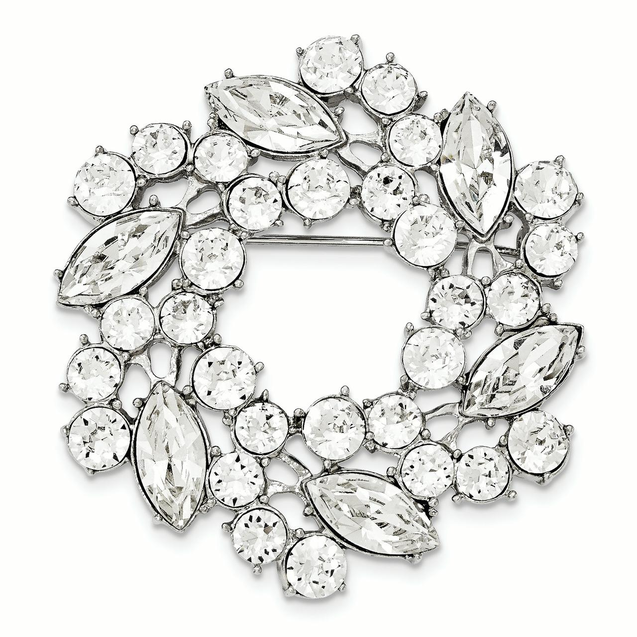 Silver-tone White Crystal Wreath Brooch by Best Price Product