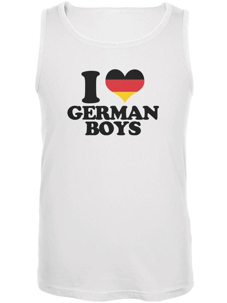 Oktoberfest I Heart German Boys White Adult Tank Top