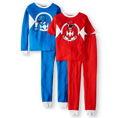 Power Rangers Boys' Cotton 4-Piece Pajama Sleep Set