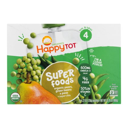 (8 Pouches) Happy Tot Super Foods Stage 4 Organic Pears, Green Beans & Peas + Super Chia Baby Food, 4.22 oz - Sweet Pea Popeyes Baby