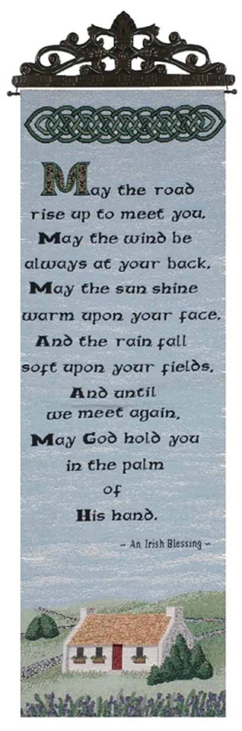 """Irish Blessing Religious Verse Wall Artwork Hanging Tapestry 13"""" x 36.5"""" by Manual Weavers"""
