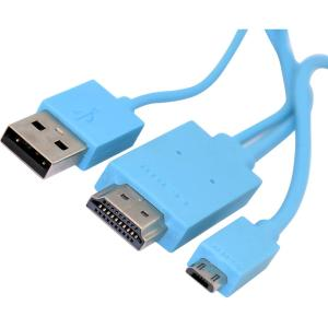 4XEM Micro USB To HDMI MHL Adapter Cable For Samsung Galaxy S2/S3/S4/Note (Blue) - HDMI/MHL/Micro-USB for HDTV, Audio/Video Device, Smartphone, Monitor, Tablet - 6.56 ft - 1 x MHL Male Micro USB,