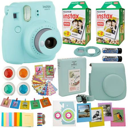 Fujifilm Instax Mini 9 Instant Camera Cobalt Blue + 2x Fuji Instax Film Twin Pack (40PK) + Blue Camera Case + Frames + Photo Album + 4 Color Filters And More Top Accessories Bundle - Fuji Photo Prints