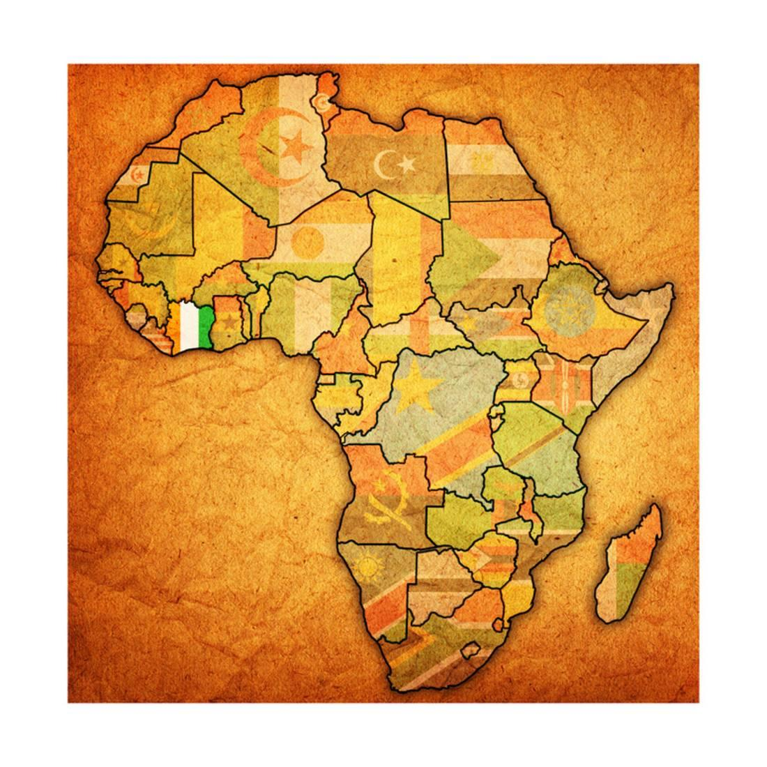 Ivory Coast on Actual Map of Africa Print By michal812