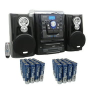 Jensen JMC-1250 Bluetooth 3-Speed Stereo Turntable Music System, Includes 40 AAA Batteries