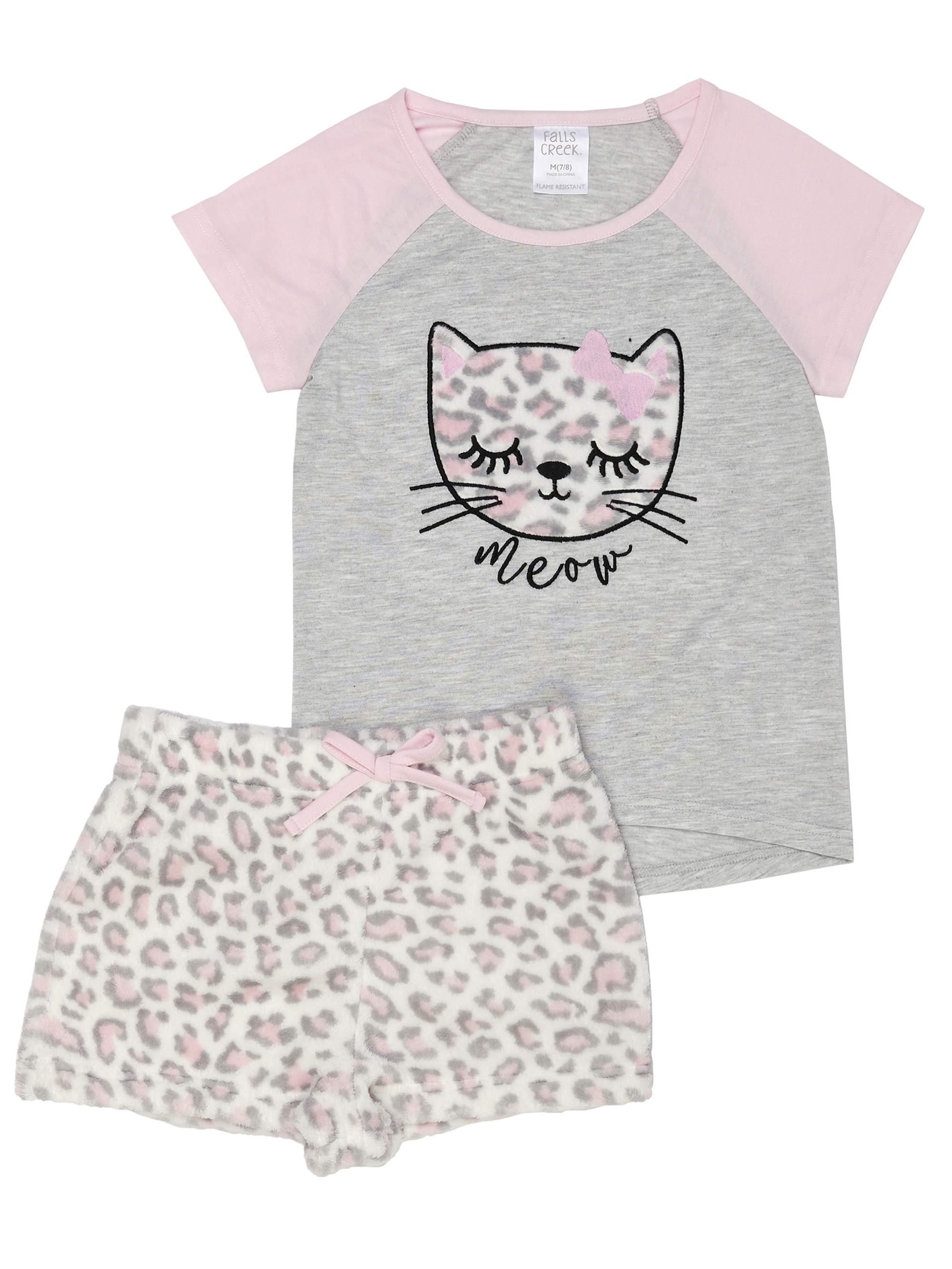 Girls' Saint Eve Girl's Kitty Meow 2 Piece Pajama Sleep Set (Little Girl & Big Girl)