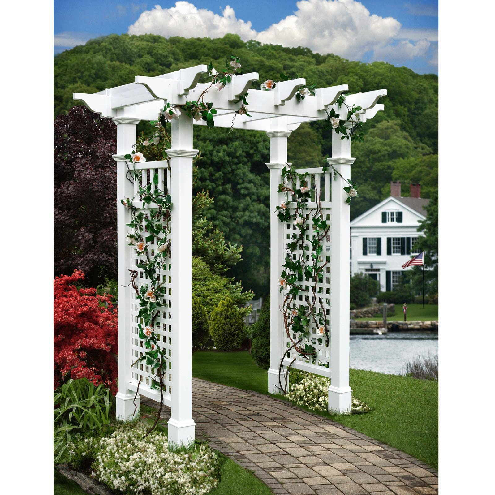 New England Arbors Fairfield II 7-ft. Vinyl Pergola Arbor by New England Arbors
