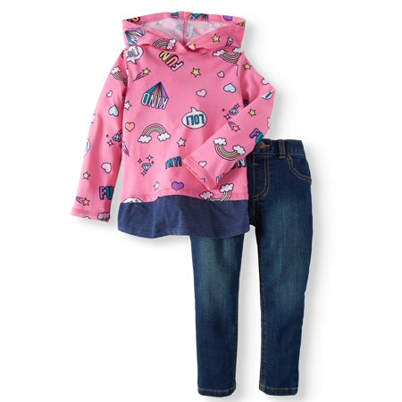 Long Sleeve Hoodie & Skinny Jeans, 2pc Outfit Set (Toddler Girls) - Greaser Outfits For Girls