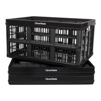 CleverMade CleverCrate Plastic 45L Collapsible Storage Bins, Black (3-Pack)