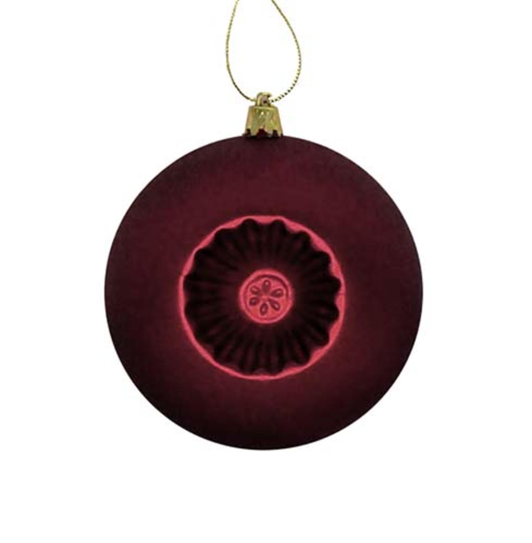 "6ct Matte Burgundy Retro Reflector Shatterproof Christmas Ball Ornaments 4"""