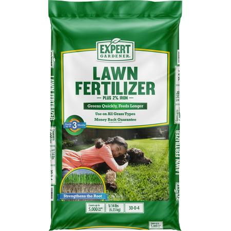 Expert Gardener Lawn Fertilizer Plus 2 Iron 14 Pounds