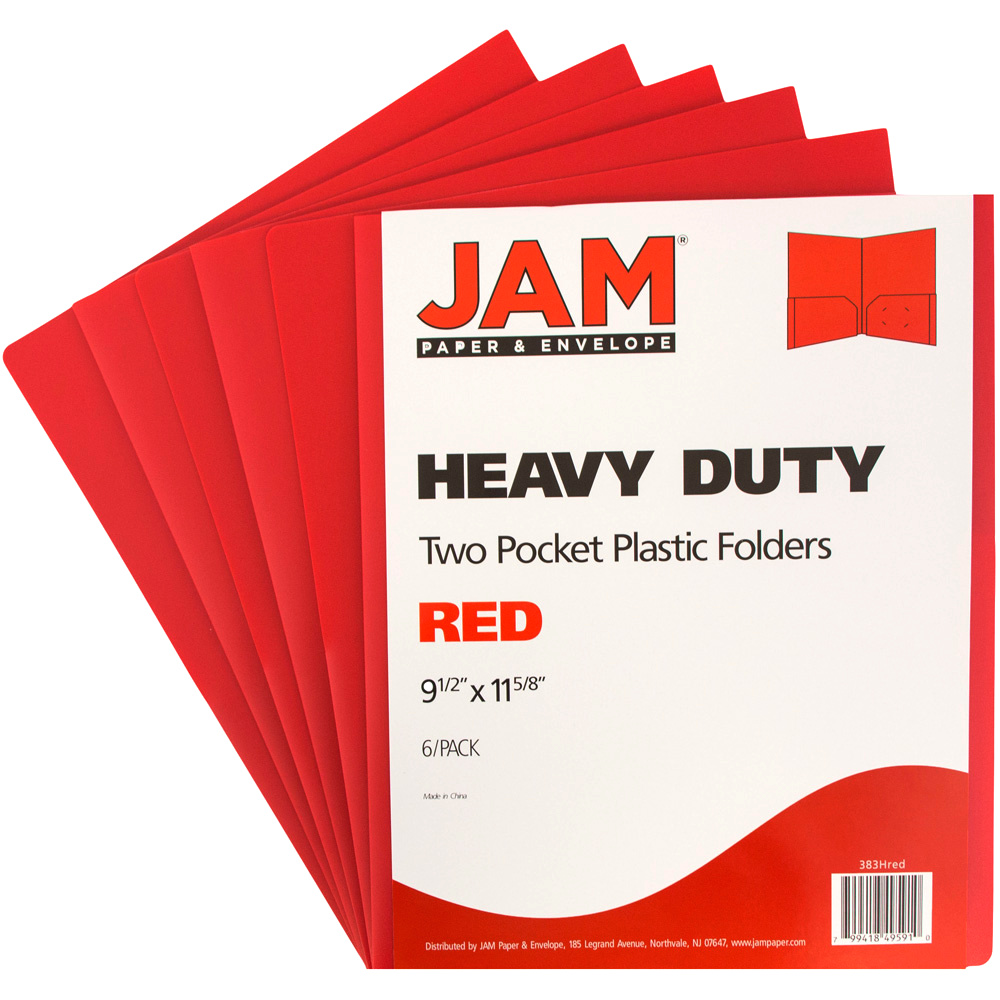 JAM Paper Heavy Duty Plastic Two Pocket Presentation Folders, Red, 6/pack
