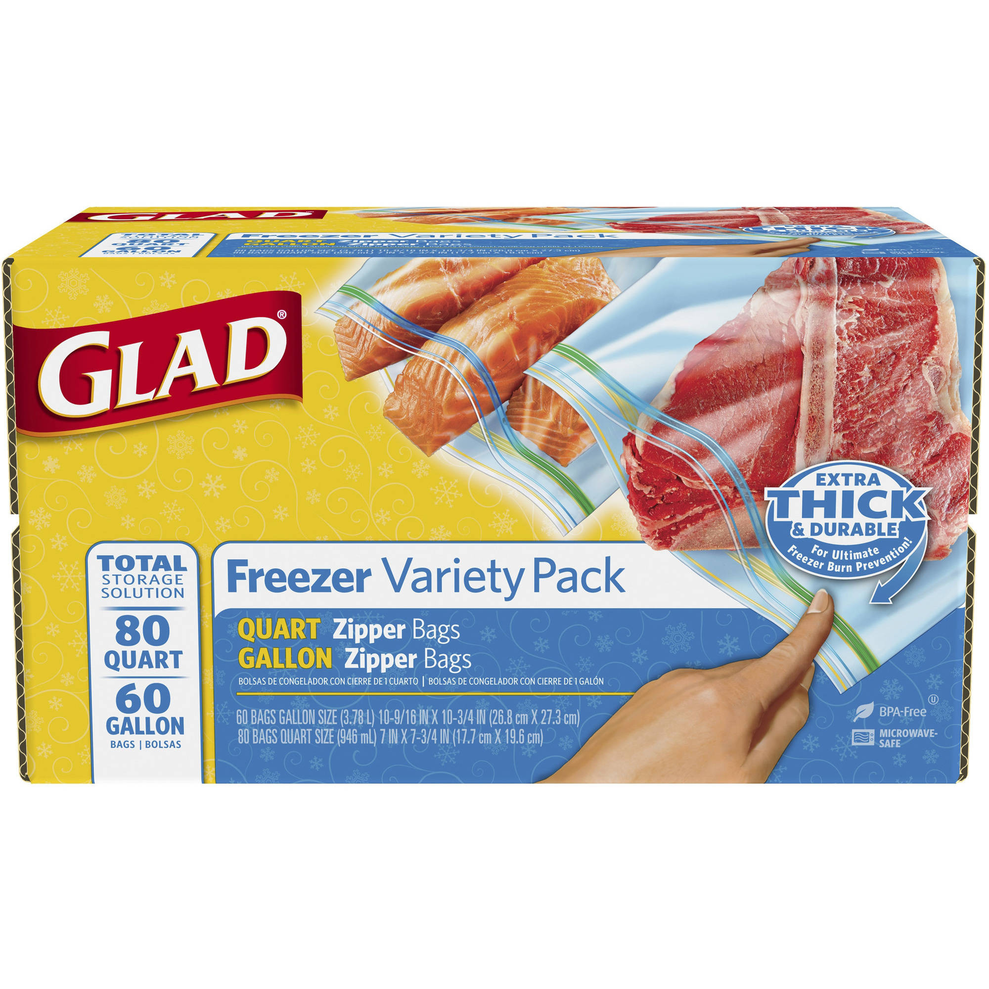 Glad Pinch & Seal Zipper Freezer Food Storage Bags, Quart and Gallon, 140 Ct