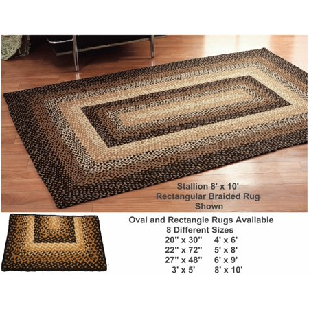 Braided Area Rug Black Tan Cream Oval Rectangle Primitive Country IHF Stallion