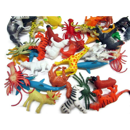 dazzling toys 90 Pieces Mini Ocean Sea Plastic Animals   Mega Bulk Pack Of Under the Sea and Jungle Life Animals   Great for Bath time, Caketoppers, Party Favor