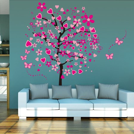 Pink Love Heart Tree Wall Stickers Butterfly Wall Decor Mural Wall Decal for Bedroom Living Room Kids Girls Bedroom Baby Room