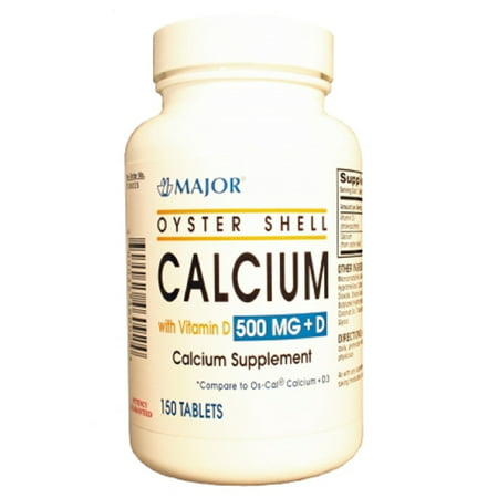 Major Oyster Shell Calcium with Vitamin D Cholecalciferol Supplement Tablets, Green, 500 mg, 150 Count