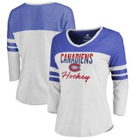 Montreal Canadiens Fanatics Branded Women's Plus Size Free Line Color Block 3/4-Sleeve Tri-Blend T-Shirt - White/Blue