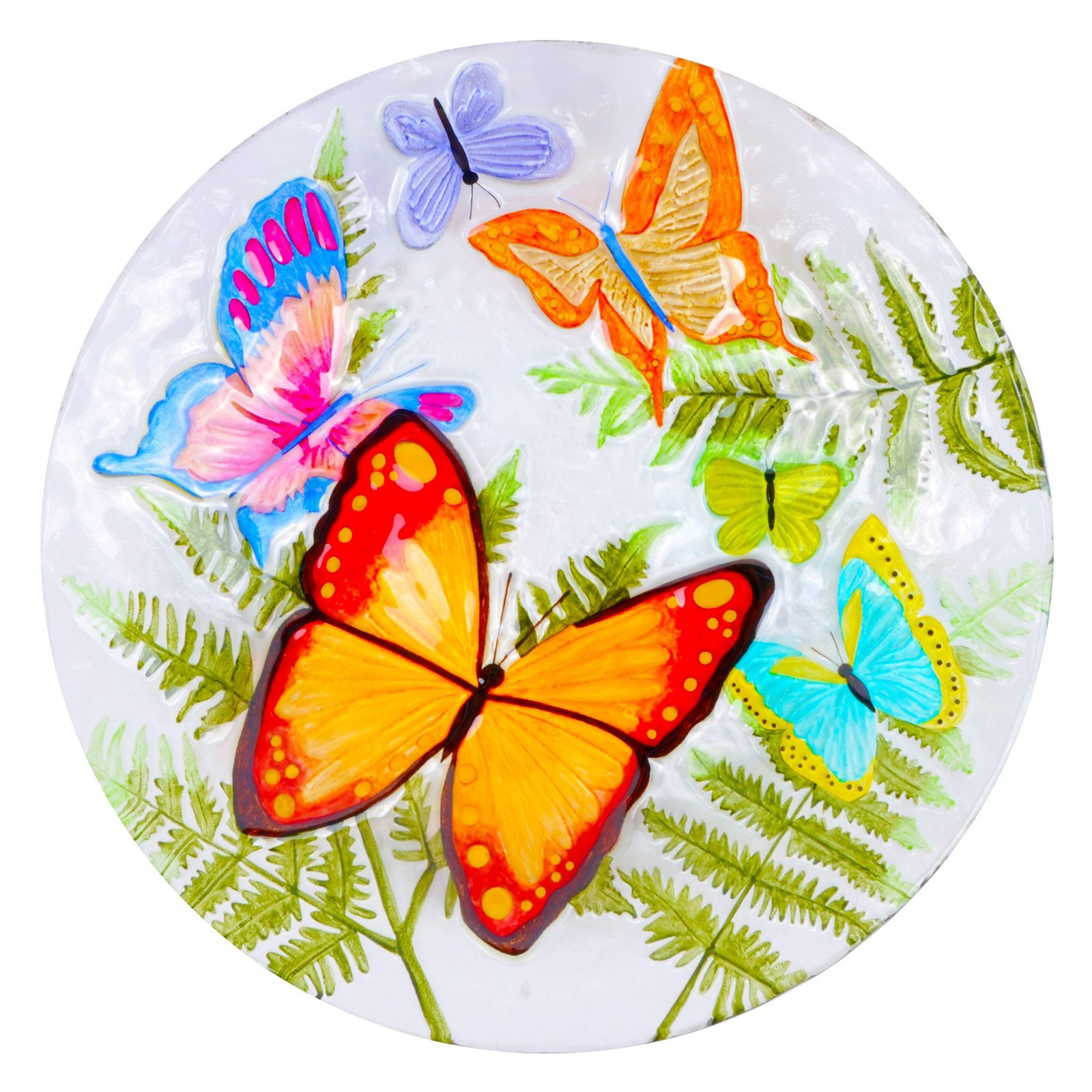 Continental Art Center Butterflies and Ferns Glass Plate