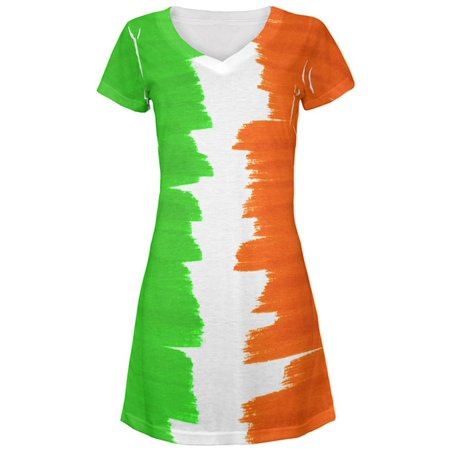 St Patrick's Day Color Me Irish All Over Juniors Beach Cover-Up Dress - St Patrick's Day Dress