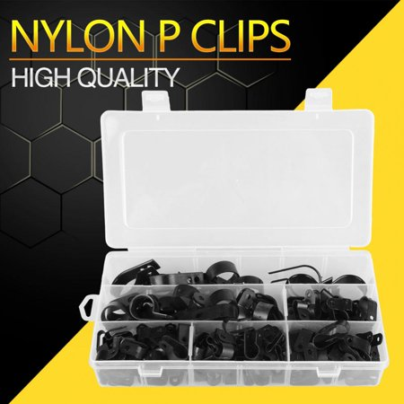 Zerone 200Pcs Black Nylon Plastic P Clips Clamp Assortment Kit for Wire Cable Pipe , Nylon P Clamp, P Cable - Plastic Pipe Clamps