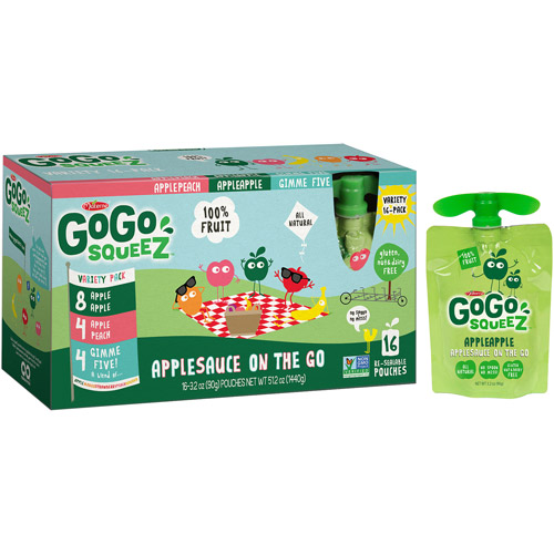 GoGo squeeZ Applesauce On the Go Variety Pack, 3.2 oz, 16 count