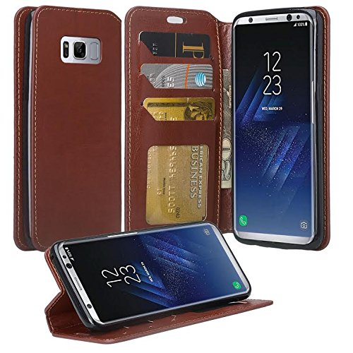 Galaxy S9 Plus Case, Samsung Galaxy S9 Plus Phone Cases, Flip Folio [Kickstand Feature] Pu Leather Wallet Case with ID & Credit Card Slot For Galaxy S9 Plus - Brown