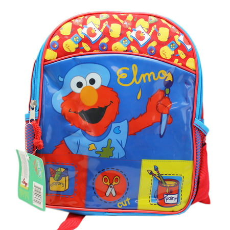 - Sesame Street Elmo the Artist Red and Blue Toddler Size Backpack (12in)